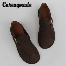 Careaymade-Summer and Autumn Leather Flat Soft sole Single Shoes,Retro mori girl Woman Wind Handmade Head Layer Cowskin shoes