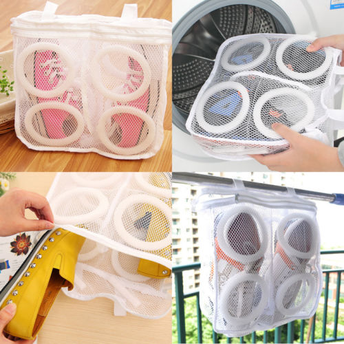 Washing Tool Sneaker Tennis Mesh White  Laundry Net Hanging Washing Bag Laundry Protect Hot Laundry Cleaning Storage Bags