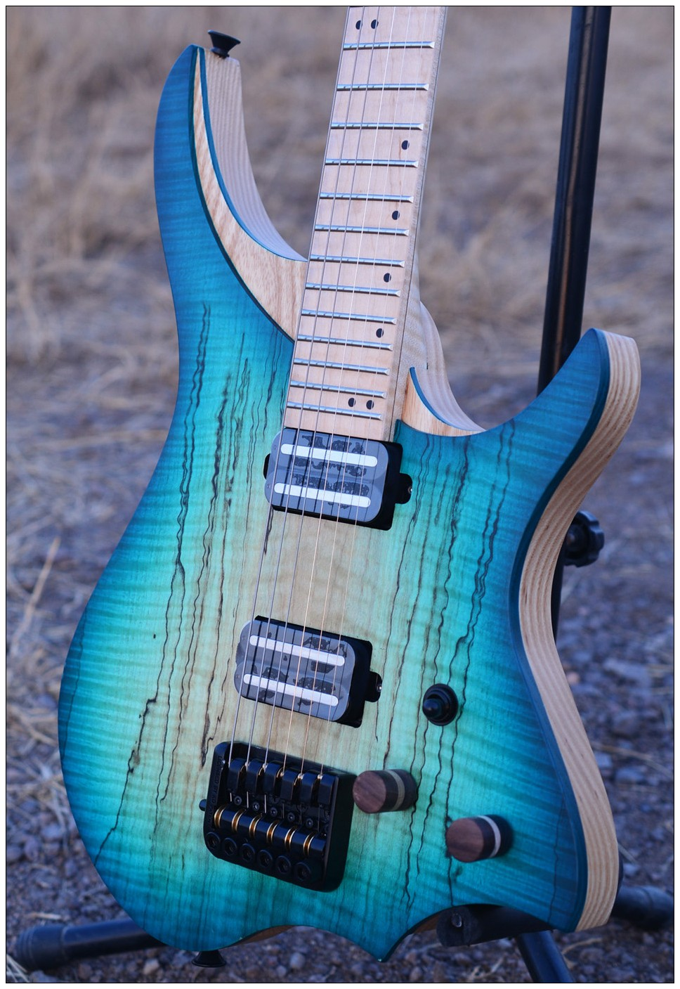 Headless Electric Guitar style Model blue spalted curly maple top Flame maple Neck in stock free shipping