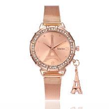 Meibo женские часы Эйфелева башня Роскошные Стекло часы модные Нержавеющаясталь группа Кварцевые наручные часы Reloj Mujer 18feb9