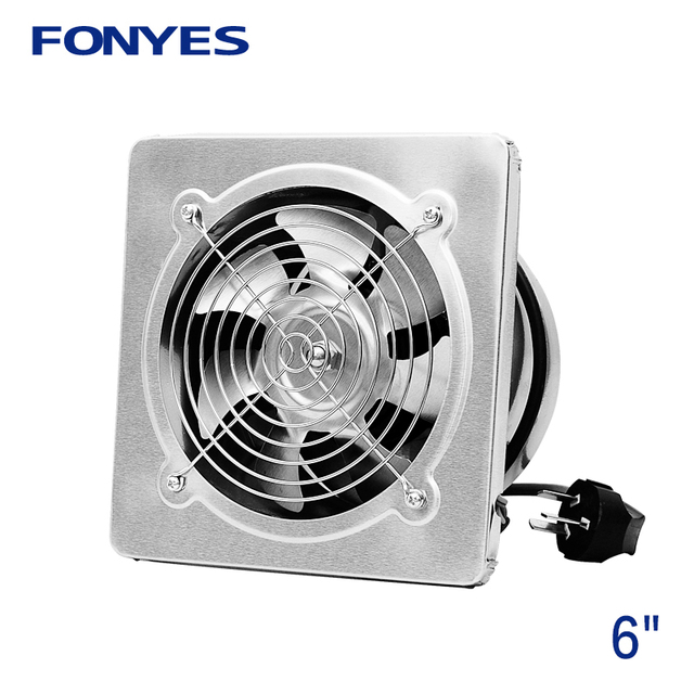 6 Inch Stainless Steel Panel Fan Ventilator Ventilation Metal Wall Exhaust Kitchen Window Extractor 220v