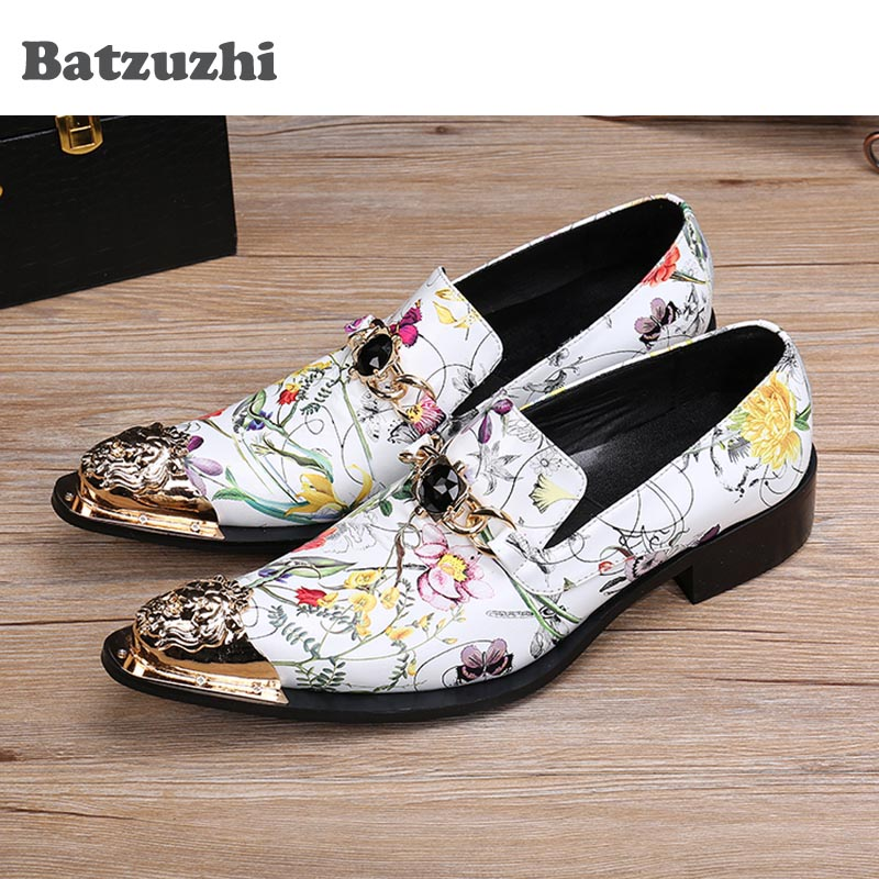 Batzuzhi Italian Style Handmade Genuine Leather Shoes Men Pointed Metal Toe White Flower Print Leather Business/Party Shoes MenBatzuzhi Italian Style Handmade Genuine Leather Shoes Men Pointed Metal Toe White Flower Print Leather Business/Party Shoes Men