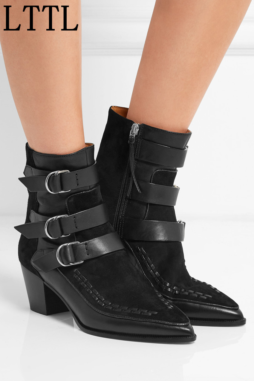 Women Buckle Straps Ankle Boots Leather and Suede Pointed Toe Thick Heel Boots New Autumn Winter Dress Boots Woman autumn winter cool fashion black leather and suede spike heel short boots charming woman pointed toe ankle boots concise design