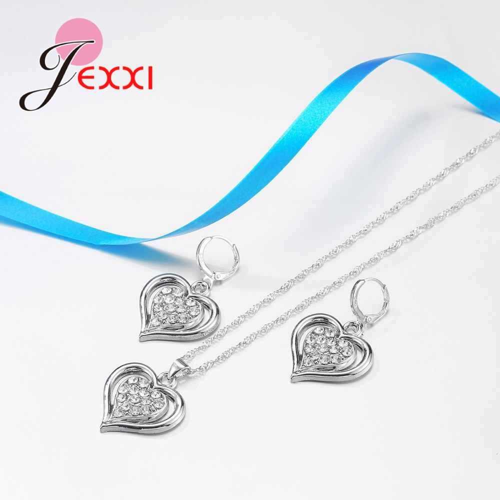 """925 Sterling Silver Cute Romantic Size Heart Shape Necklace Earrings Set With Double """"Heart"""" For Women Men Wedding"""