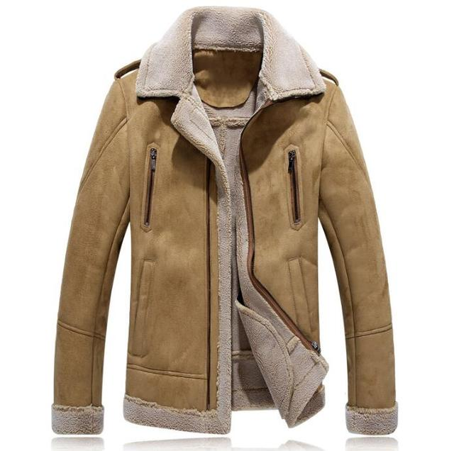 buy popular 13c07 867fb US $81.9 22% OFF|Winter lederjacke männer jaqueta de couro einreiher herren  faux pelzmäntel drehen unten kragen vintage oberbekleidung plus größe 4xl  ...