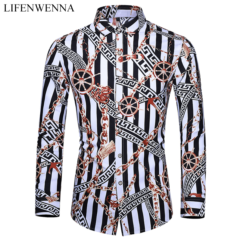 Casuals Shirt Men Autumn New Arrival Personality Printing Long Sleeve Shirts Mens Fashion Big Size Business Office Shirt 6XL 7XL