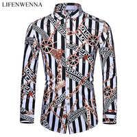 Casuals koszula męska jesień nowy nabytek osobisty nadruk koszule z długim rękawem moda męska Big Size biznesowa koszula biurowa 6XL 7XL