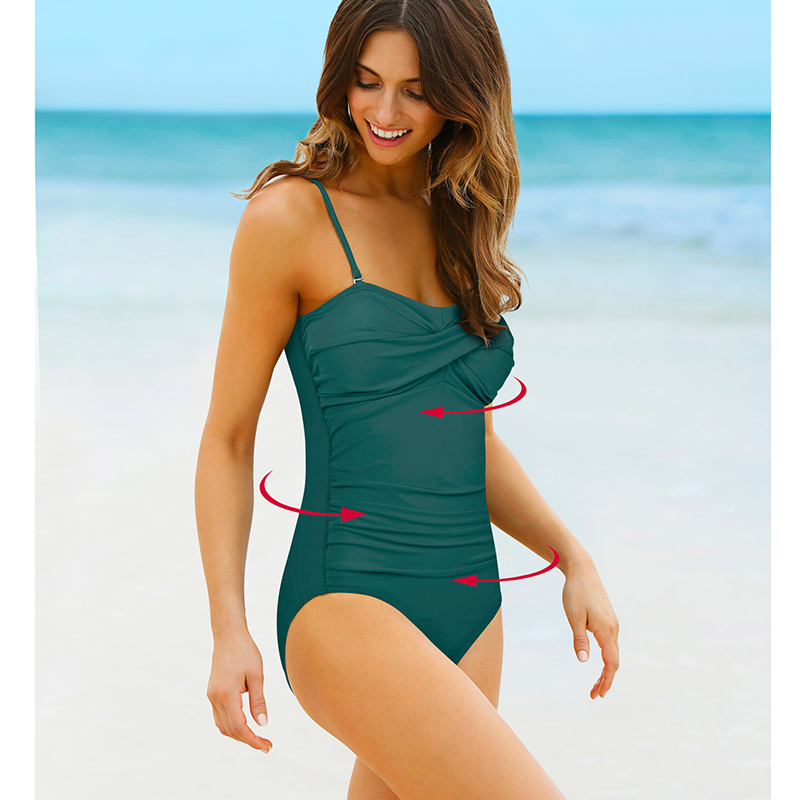 NAKIAEOI One Piece Swimsuit 2018 New Plus Size Swimwear Women Print Solid Swimwear Vintage Retro Bathing Suits Monokini Swimsuit 2