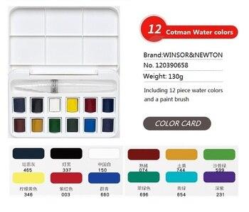 WINSOR & NEWTON 12 kolorów stałe farby akwarelowe wysokiej jakości malarz wody pigment kolorowy materiały do rysowania Art