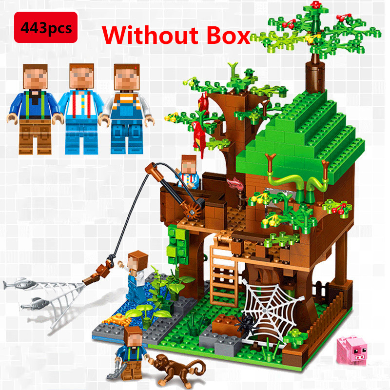 443Pcs Minecrafted Classic Tree House My Morld Compatible Figures Building Blocks Bricks Toys For Children Birthday Gift 523pcs 4 in 1 minecrafted classic tree house my world model figures building blocks bricks legoings toys for children gifts set