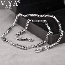 V.YA Vintage Solid 925 Sterling Silver Chain Necklaces Men Jewelry Om mani padme hum Thai Silver Men's Necklace 4mm Thickness(China)