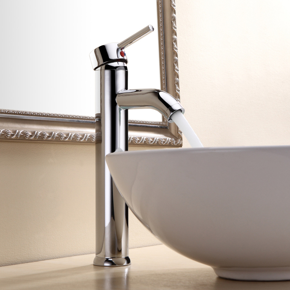 Factory direct supply Single chrome plate full copper table basin faucet hot and cold taps basin faucet stage