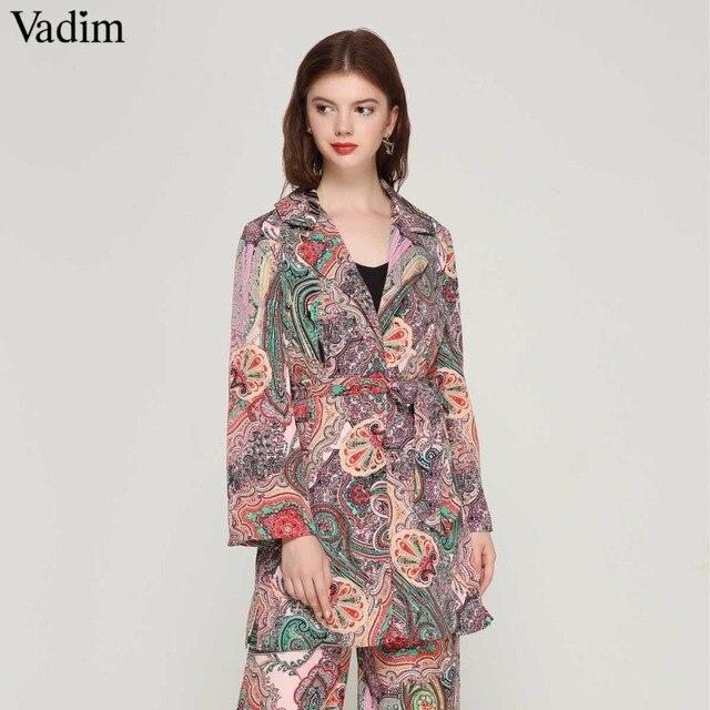 d12fb055f Vadim de moda patrón de paisley kimono abrigo abierto punto arco corbata  fajas manga larga ropa de verano de las señoras tops sueltos CA013