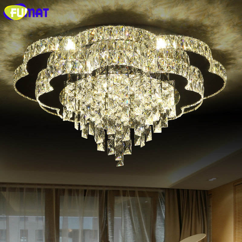 FUMAT New Modern LED Chandelier Flower K9 Crystal Light Fixture Living Room Lights Luxury Dimming Decor Indoor Lighting