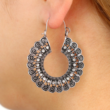VAROLEV New Style Flower Personality Ethnic Retro Earrings New Hollow Alloy Antique Silver Long Pendant Earrings Charms 4462