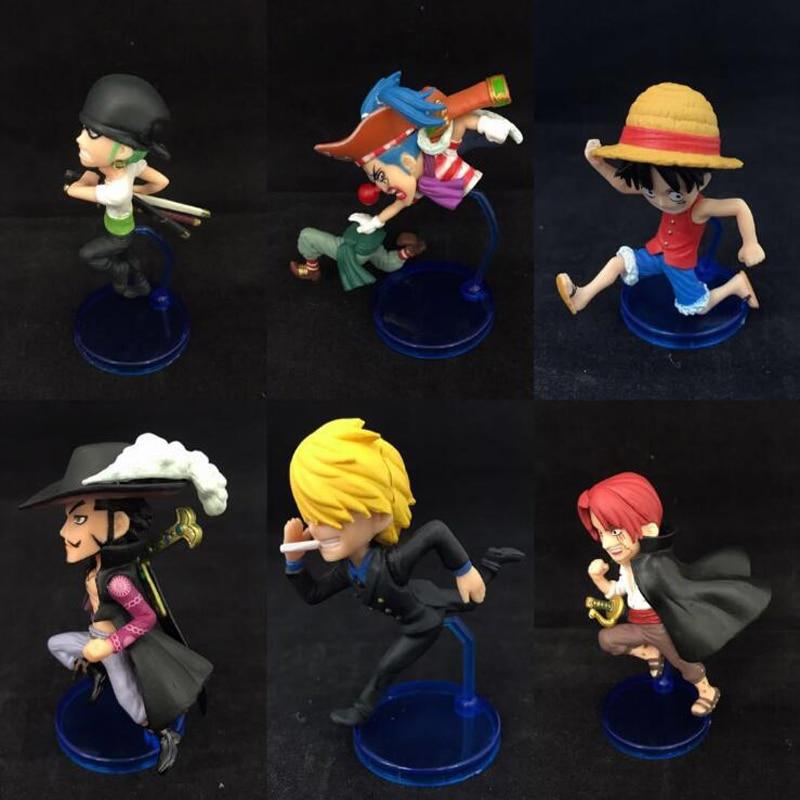 One Piece Luffy Dracule Mihawk Roronoa Sanji anime 6pcs/set running Ver. cartoon action figure Nendoroid with box Y7326