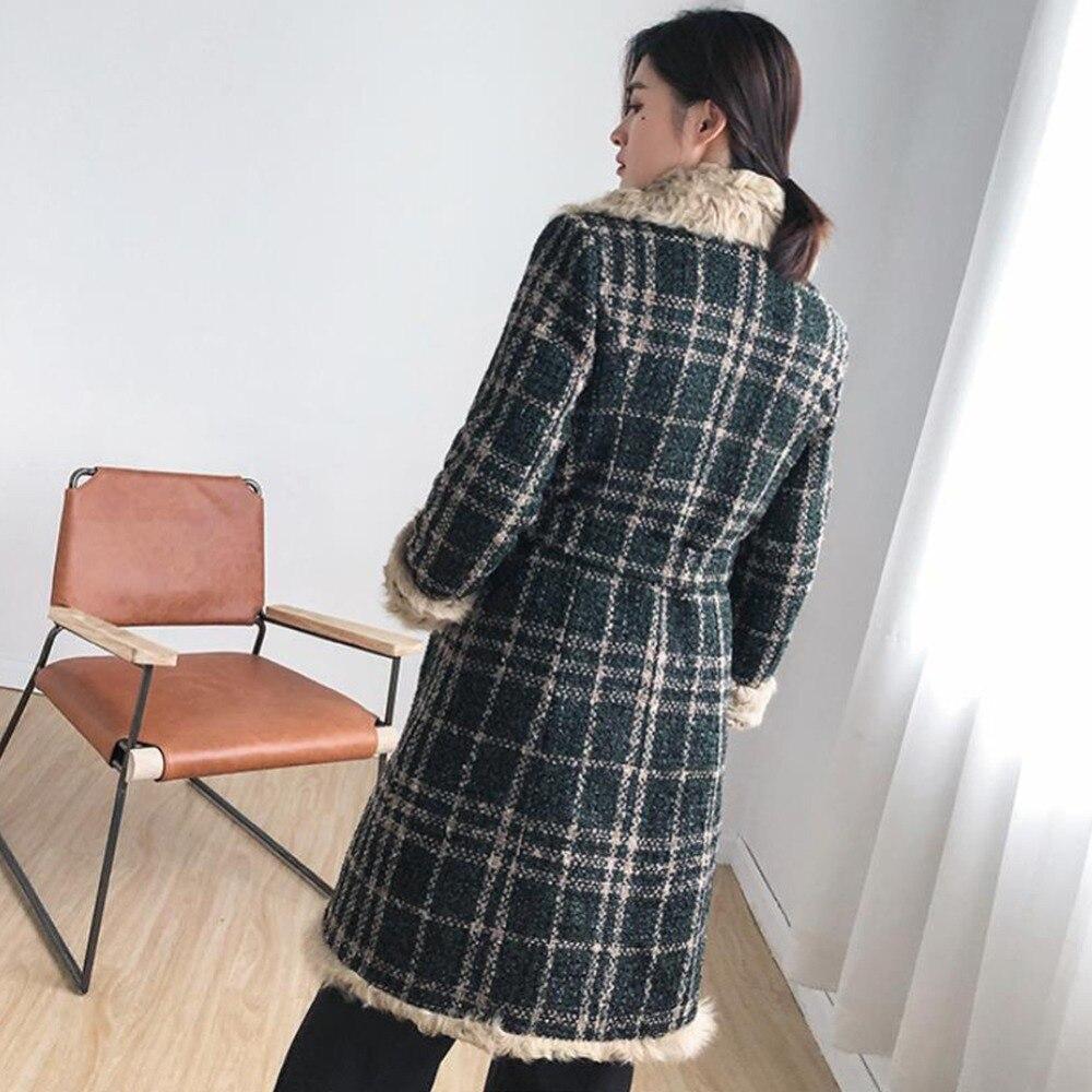 Naturel Tweed rose Veste bleu Dames Noir Fourrure Manteaux 50 Col Femmes Manteau Mode Long Lxunyi Agneaux Laine Feminino Chaud De vert Hiver Plaid x7BwzvW84q