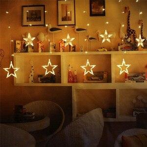 Image 3 - أضواء عيد الميلاد في الأماكن المغلقة 4.5 متر ستار الستار سلسلة ضوء 138 LED مصباح مع 8 وسائط وامض الديكور للمنزل الزفاف