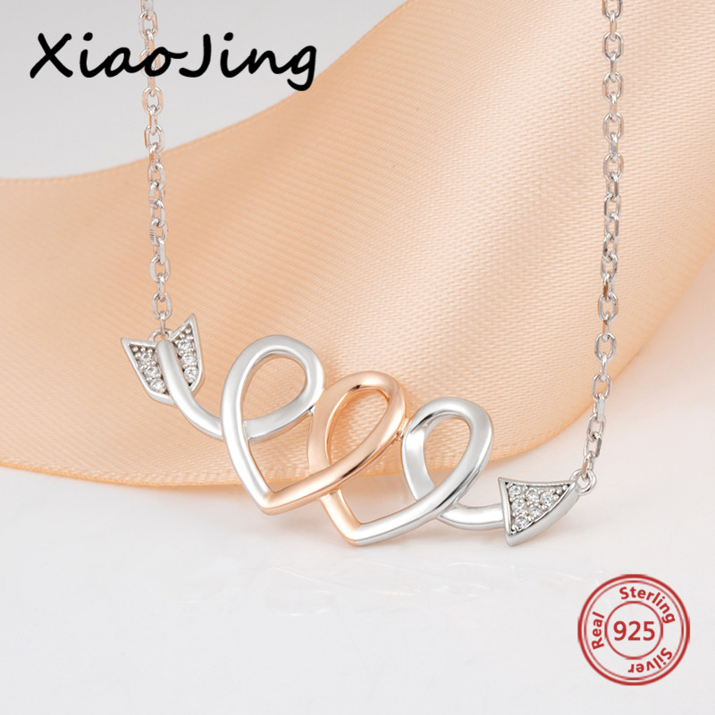2018 new arrival 925 sterling silver love heart Cupid 39 s Arrow pendant chain necklace diy fashion jewelry making for lover gifts in Chain Necklaces from Jewelry amp Accessories