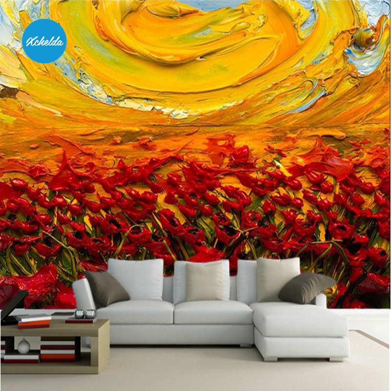 XCHELDA Custom 3D Wallpaper Design Oil Flower Photo Kitchen Bedroom Living Room Wall Murals Papel De Parede Para Quarto kalameng custom 3d wallpaper design street flower photo kitchen bedroom living room wall murals papel de parede para quarto
