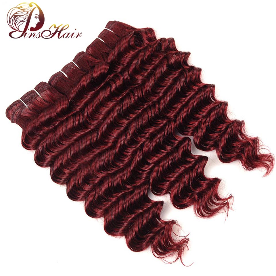 Pinshair 99J Burgundy Deep Wave Bundles Bold Red Brazilian Human Hair Weave Bundles Non-Remy Hair Extensions Can Buy 1/3 Bundles