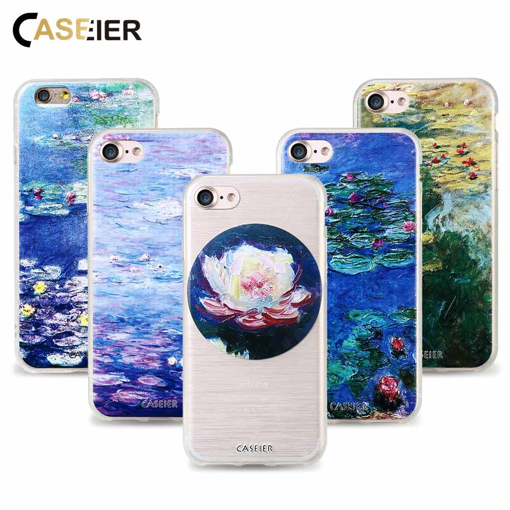Caseier Monet Phone Case For Iphone 6 6s 7 8 Plus Capa Water Lilies Painting Relief 5 5s Se Cover Shell Coque In Half Wred From
