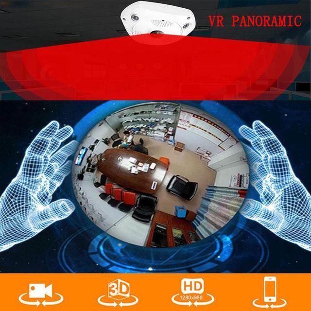 1.3MP 1280*960 WiFi 360 Graus Vídeo VR Câmera Panorâmica Fisheye IP Visão Noite Câmera Câmera Profissional de Alta Qualidade presente