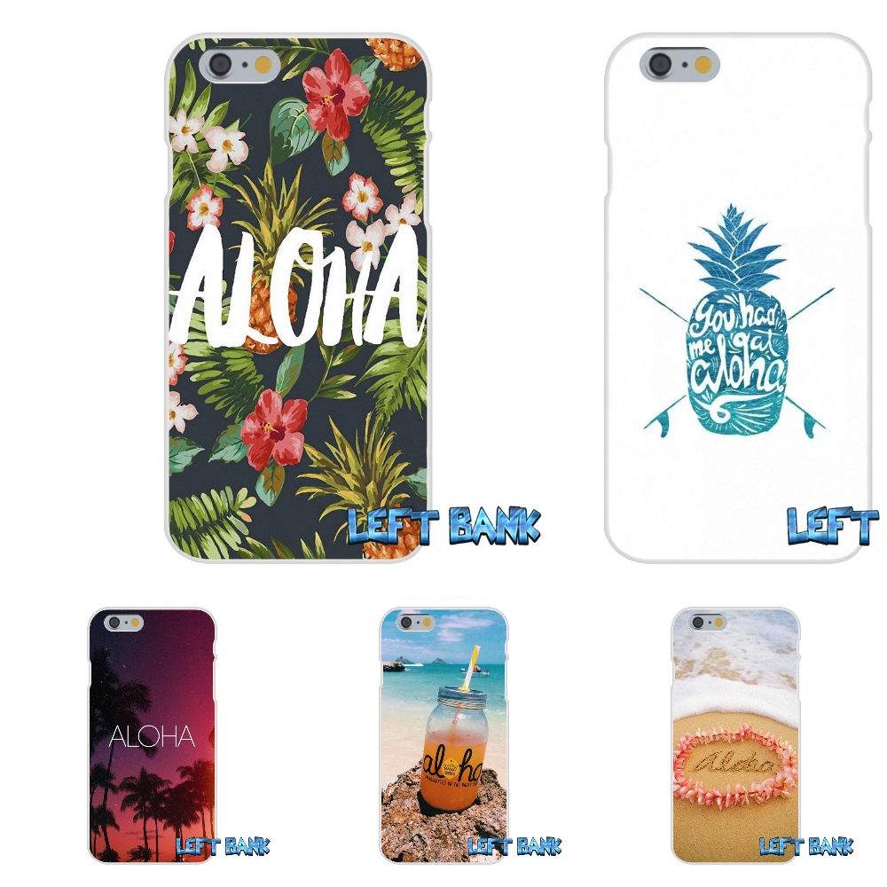 For iPhone 4 4S 5 5S 5C SE 6 6S 7 Plus Original Hawaii Aloha Beach Art Soft Silicone TPU Transparent Cover Case ...