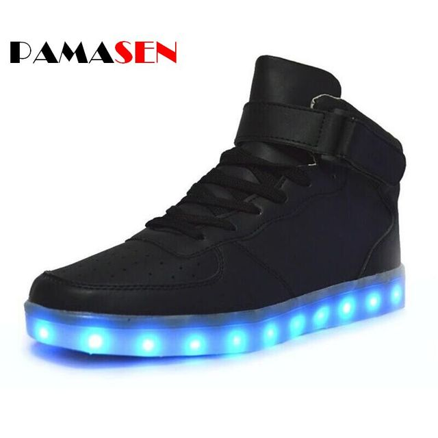 2017 Unisex Light Led Charging Shoes Mens Casual Lumineuse Luminous lighted shoes For Adults With Led light Shoes White Black