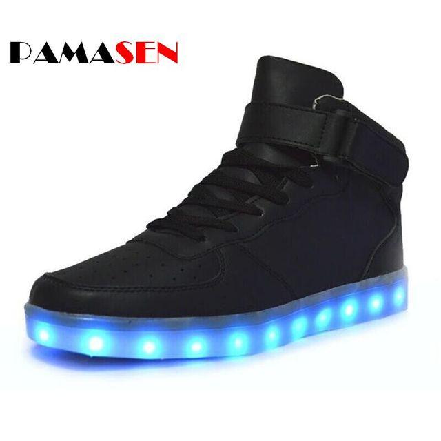 2017 Unissex Sapatos Casuais Mens Lumineuse Luz Led De Carregamento Luminous iluminado sapatos Para Adultos Com Diodo Emissor de luz Sapatos Preto Branco