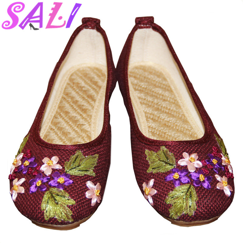 15 colors China Wind Amoi flat linen embroidered shoes tendon at the end breathable shoes Peas pregnant women single shoes