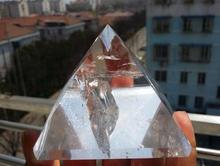 350 450g 80 80mm AAAA Transparent Large Natural Rock Clear Quartz Crystal Pyramid Water Clear Garden