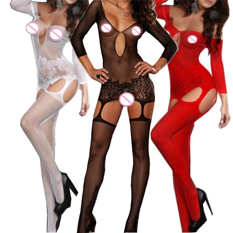 Womens Fishnet Bodystocking Sexy Erotic Lingerie Costumes O Neck Bodysuits Crotchless Underwear For Sex Black Red White Tights