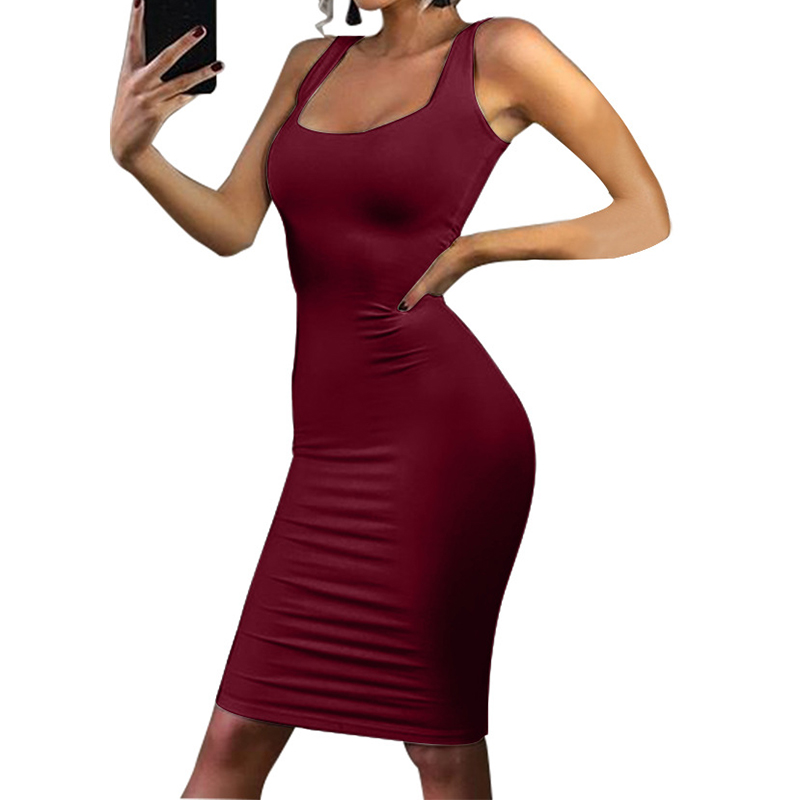 Summer Dress Women Tank Top Slim Pencil Dress Sexy Sleeveless Vest Dress Sheath Bodycon Dress WS5143R