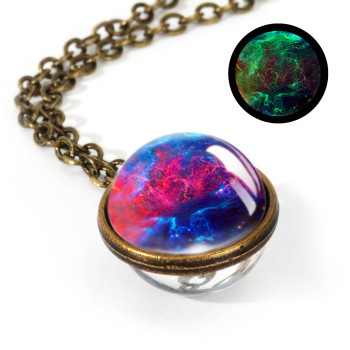 Galaxy Double Sided Pendant Necklace Jewelry Necklaces Women Jewelry Metal Color: LGS0032-Luminous