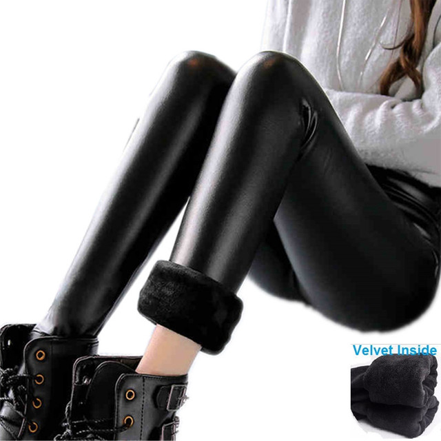 Fashion Women Leggings 2016 Winter Velvet Warm Leggings High Waist Stretch Skinny Pencil Pants Brand Faux Leather Leggings LG166