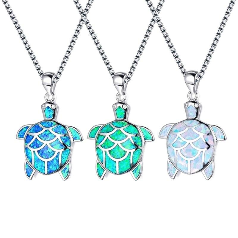 Vintage Cabochon Glass Necklace Silver fashion pendants(colorful sea turtle