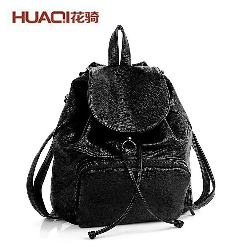 ФОТО Korean Women Bag 2017 PU Leather Black Shoulder Bags Ladies Designers High Quality Famous Brand Casual School Backpack HQ2990