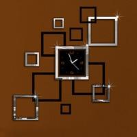 Album Silver Black 3D DIY Mirror Wall Clock Modern Design Relojes De Pared Watch Wall Clocks