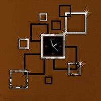 อัลบั้มสีเงินและสีดำ3D DIYกระจกนาฬิกาแขวนการออกแบบที่ทันสมัยR Elojes De