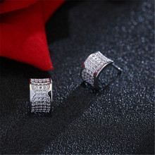 925 sterling silver Stud earrings Personality bent Set auger allergy Ladies fashion jewelry wholesale
