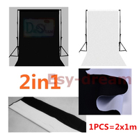 Double Faced White Black 2M 6.5FT Cotton Polyester Foto Photo Photography Backdrops Background Cloth For Studio Flash Chromakey