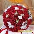 2017 Бургундия На Складе Романтический Люкс Для Невесты Цветок Жемчуг Свадебный Букет Искусственный Свадебный Аксессуар