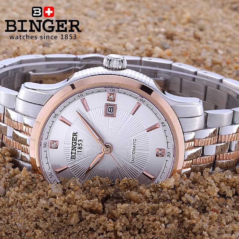 Szwajcaria BINGER zegarki mężczyźni luksusowa marka Mechanizm - Męskie zegarki - Zdjęcie 5