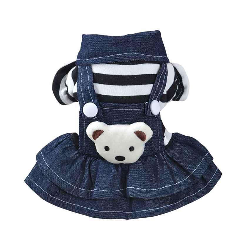 2018 платье в белый горошек для щенка, джинсовая юбка с ремешком для собак, одежда для собак, размеры XS-XL