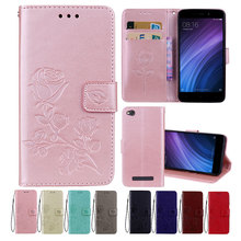 Leather Case For Xiaomi Redmi 4A Cases for 4 A Cover Flower Design Mobile Phone