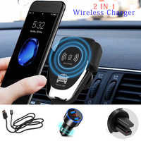 QI Wireless Charger 10W Mobile Phone Fast Charger Bracket Mount Car Air Vent Phone Holder For iPhone XS XR X 8 Samsung Huawei