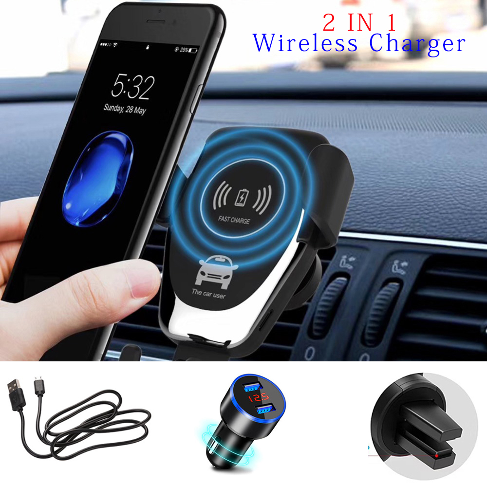 QI Wireless Charger 10W Mobile Phone Fast Charger Bracket Mount Car Air Vent Phone Holder For iPhone XS XR X 8 Samsung Huawei image