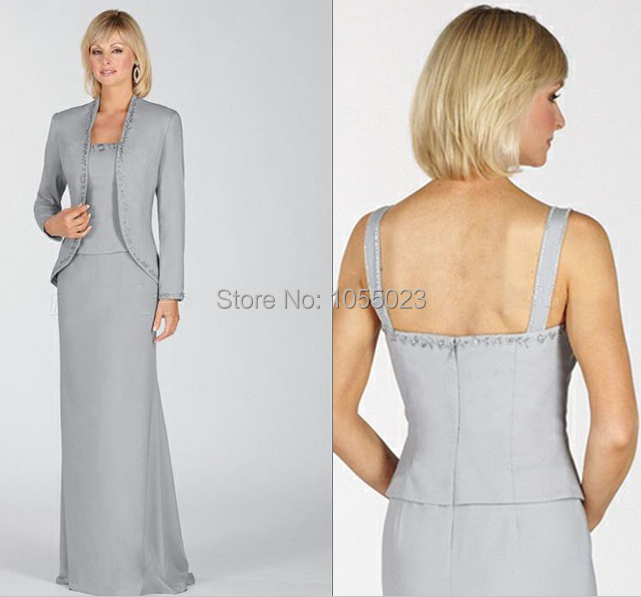 Free Jacket Silver Mother of the Bride Dress Plus Size Floor Length ...