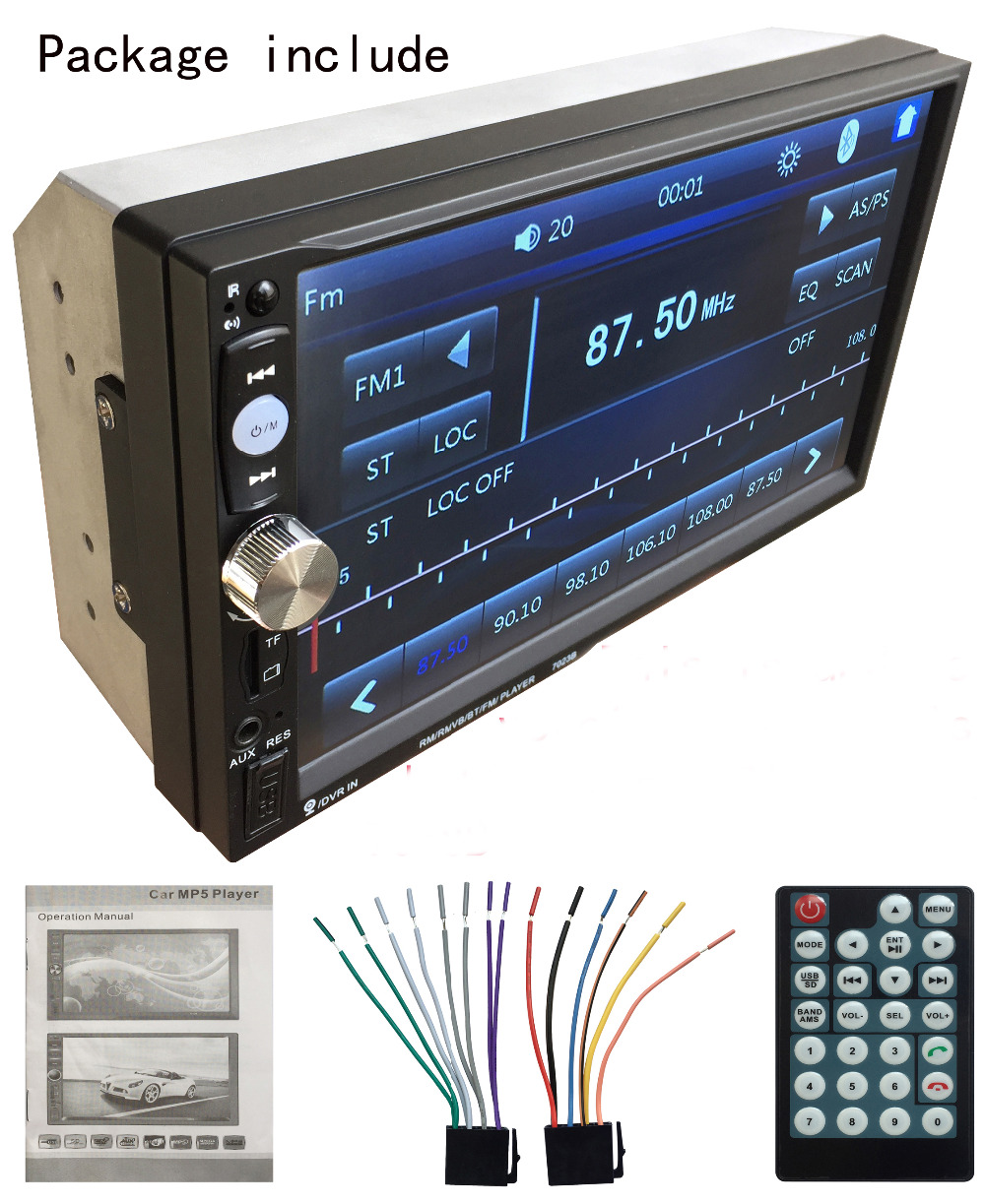 2 DIN 7 Inch  Car Radio Audio Stereo Player with Full-Touch Screen,1024*600 HD Resolution,Bluetooth